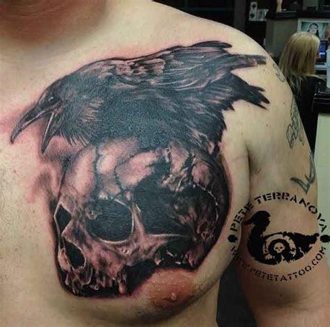 Black and gray skull and raven tattoo   Custom Tattoos