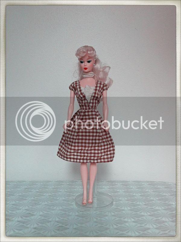 vintage brown gingham dress Barbie