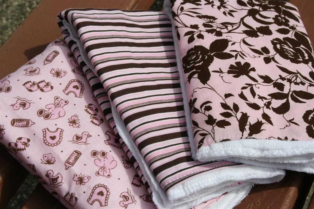 Burp Cloths Pink and Brown