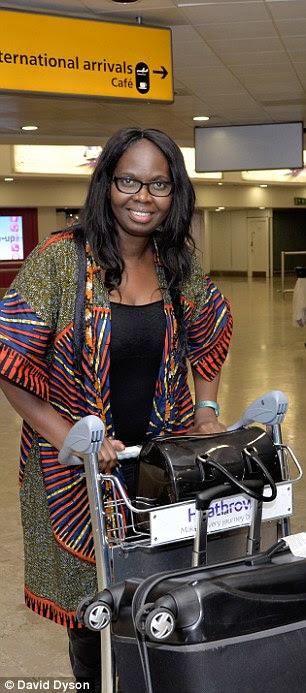 Passenger Gina Jere Sorious Samura arrives at Heathrow from Siera Leone