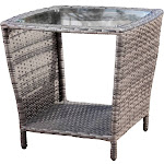 Weston Outdoor Wicker Side Table with Glass Top by Christopher Knight Home Grey