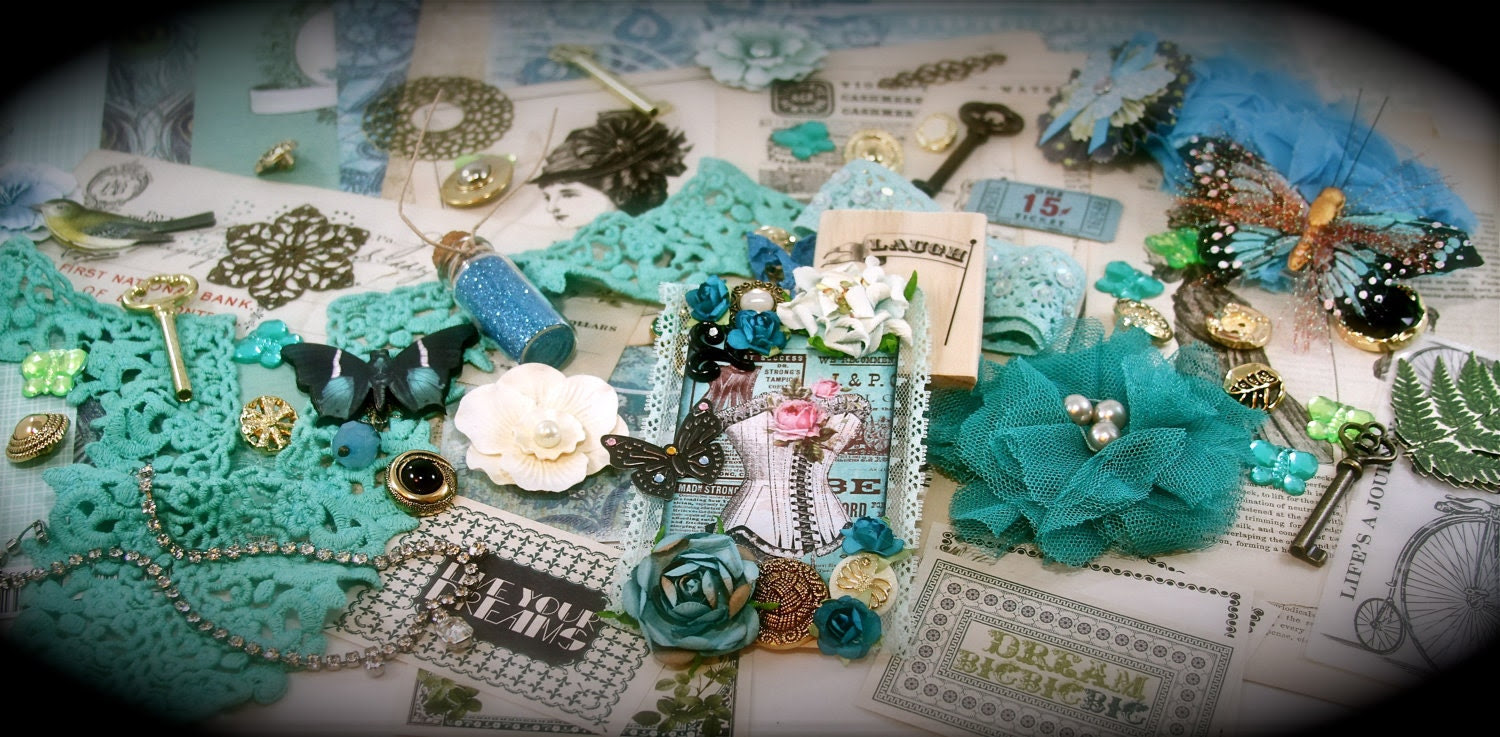 A Day at the Beach at Mykonos Project Embellishment Scrapbooking Altered Art KIT