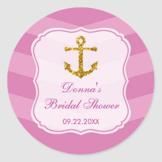 Glitter Anchor Nautical Favor Sticker