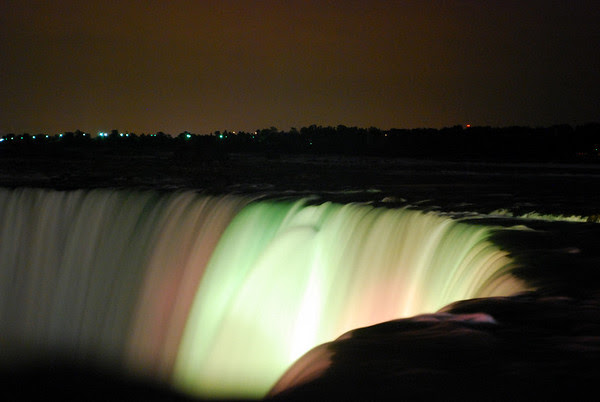 The Canadian Falls illuminated on late Friday night.