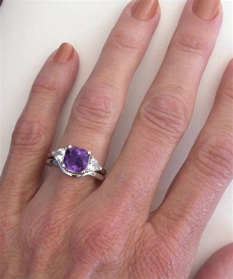 Cushion Cut Amethyst Engagement Ring with Trillion White