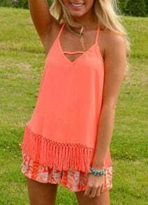 Neon Red Halter With Tassel Chiffon Cami Top