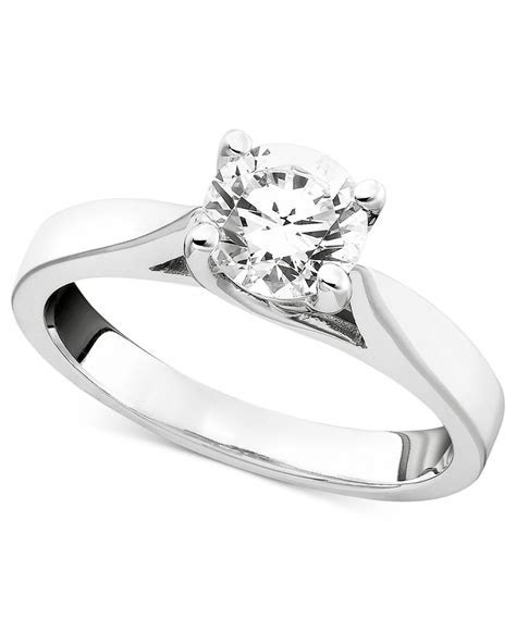 Macy's Certified Diamond Engagement Ring In 14K White Gold