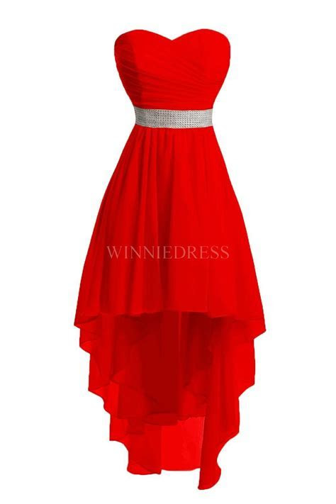 Shop discount Red High Low Lace Up Chiffon Sweetheart