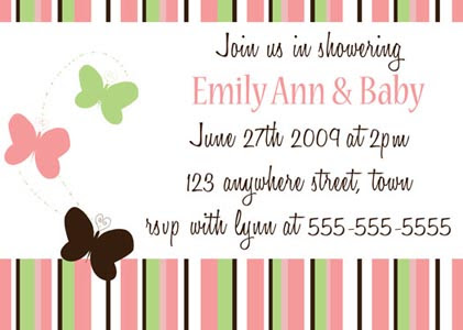 Butterfly strip baby shower  invitation