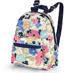 "Zodaca 16"" Bright Backpack School Bag Adjustable Shoulder Straps Bag for Girls Boys Teen Adults (Size: 16.5""L x 5.5""W x 12""H) - Ocean Bloom Flower"