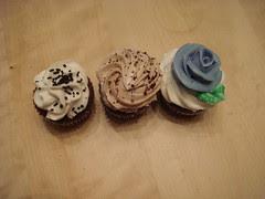 Cupcake trio, overhead view