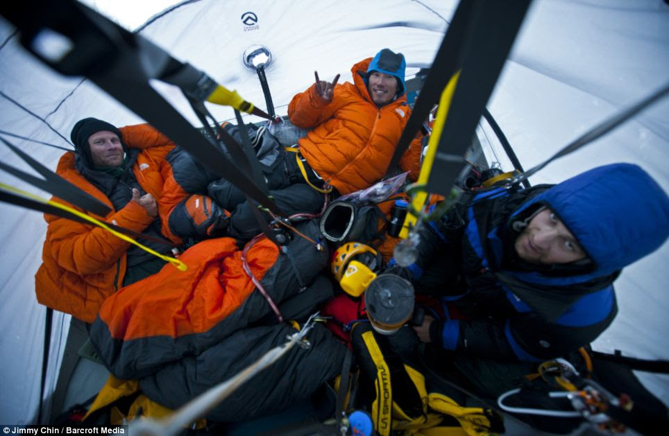 Resting in their fourth and highest portaledge camp