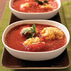 Chipotle-Tomato Soup with Cornmeal Dumplings