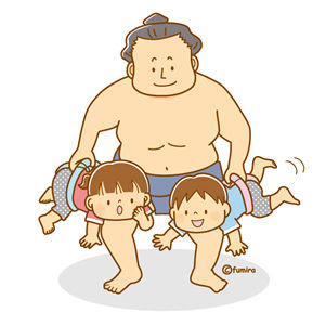 クリップアート相撲とこどものイラスト 子供と動物のイラスト屋さん