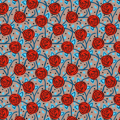 Rose Vining Red Blue & Grey - eppiepeppercorn - Spoonflower