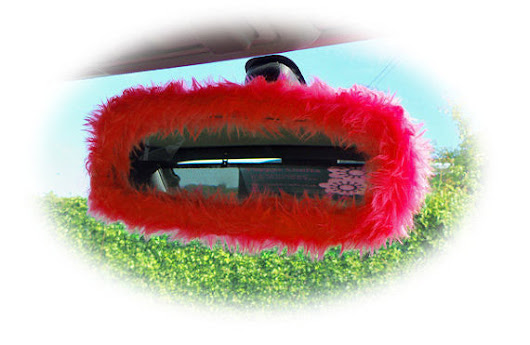 Racing Red rear view fuzzy furry cute mirror cover – Poppys Crafts
