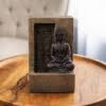 Tabletop Water Fountain- Sitting Buddha Statue by Stone Wall Waterfall, Electric Pump Soothing Sounds for Office and Home Decor by Pure Garden