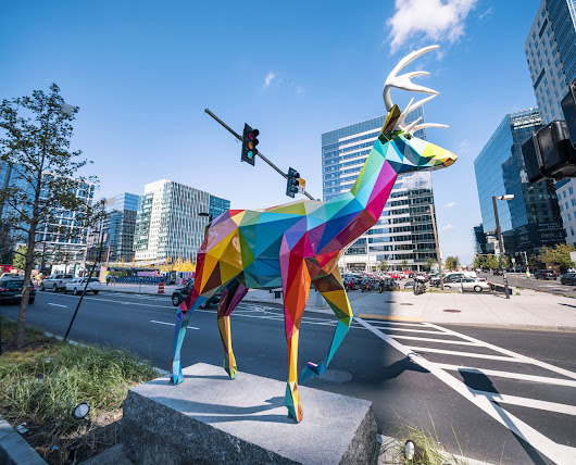 Air Sea Land: Okuda's Colorful Sculptures on the Streets of Boston