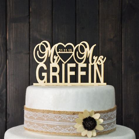 Wooden Wedding Cake Topper   Personalized with wedding