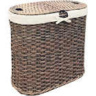 Seville Classics Hand-Woven Oval Double Laundry Hamper with Liner, Mocha
