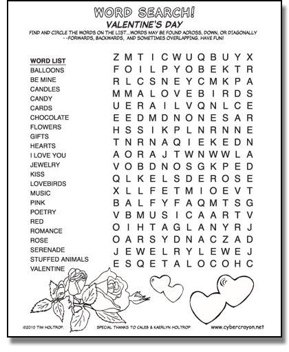 CyberCrayon.net - Word Search - Valentine