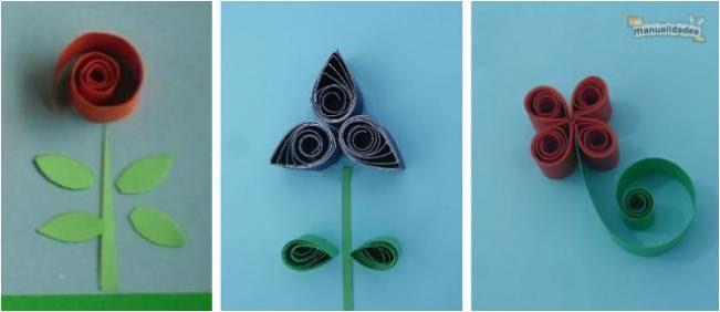 Resultado de imagen de flores papel enrollado
