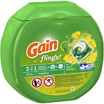 Gain 00741 Original Scent 3-In-1 Laundry Detergent Flings 57 Count -PACK 4