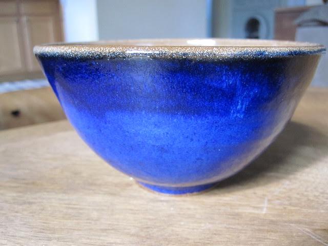 Deep blue rice bowl