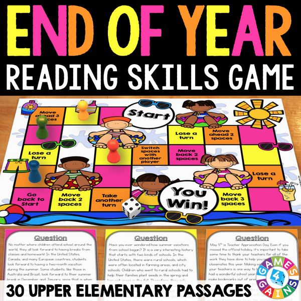 End Of The Year Reading Prehension Board Game – Games 4