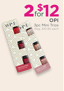 OPI 3-piece Mini Nail Sets are two for $12, regular $9.95 each.