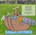 Noah and his Ark of Animals Yard Art Woodworking Pattern - fee plans from WoodworkersWorkshop® Online Store - noahs ark,two by two,boat,yard art,painting wood crafts,scrollsawing patterns,drawings,plywood,plywoodworking plans,woodworkers projects,workshop blueprints