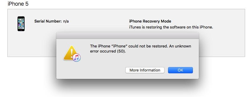 iPhone restore \u0026quot;Unknown error 50\u0026quot; while \u0026quot;Restoring iPhone Firmware\u0026quot; : applehelp