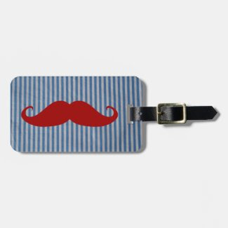 Funny Red Mustache And Blue White Stripes Luggage Tag