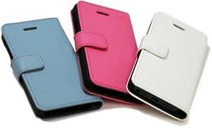 Highend berry 【 iPhone 5 / 5s 】 牛本革 手帳 型 鏡 付き アイフォン レザー ケース スノーホワイト
