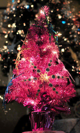 My little pink tree filled with Medallion II Snowflakes!