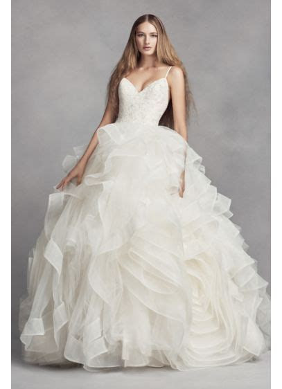 White by Vera Wang Organza Rosette Wedding Dress   David's