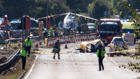 U.K. air-show jet crashes onto highway and hits vehicles, 7 dead