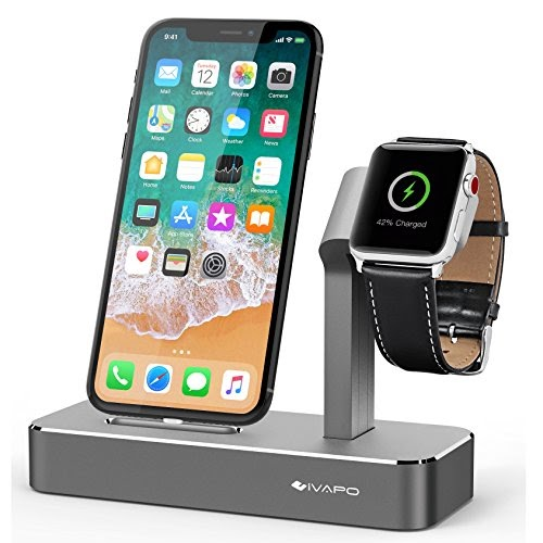 iVAPO 2 in 1 Station for Apple Watch and iPhone Stand for Apple Watch Series 3/ Apple Watch Series 3...