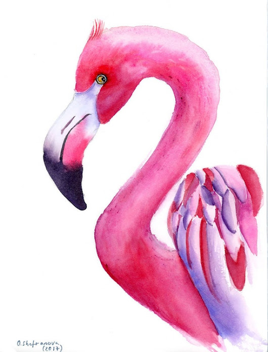 Flamingo Painting Original Watercolor art Tropical Bird artwork Pink wall decor Watercolour art nursery art Flamingo decor Watercolor gift