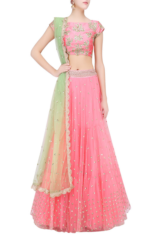 Baby Pink Floral Embroidered Lehenga Set with Pista Green Dupatta - Frugal2Fab