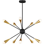 Feiss EC10310MBK Jax Chandelier, 10-Light 600 Total Watts, Midnight Black/Burnished Brass