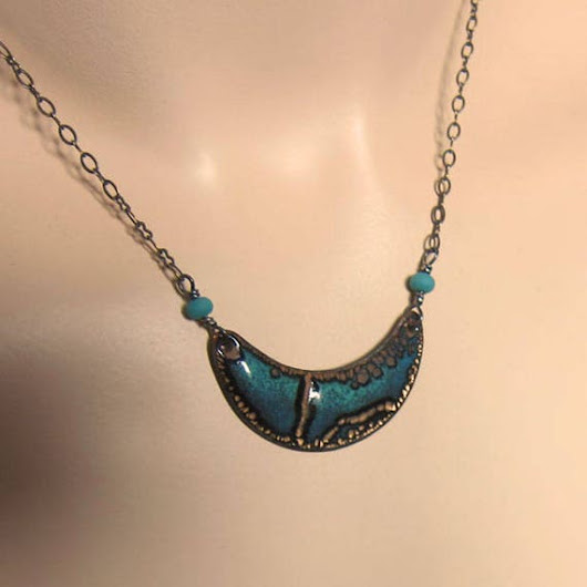Teal enamel crescent moon necklace Turquoise green bib