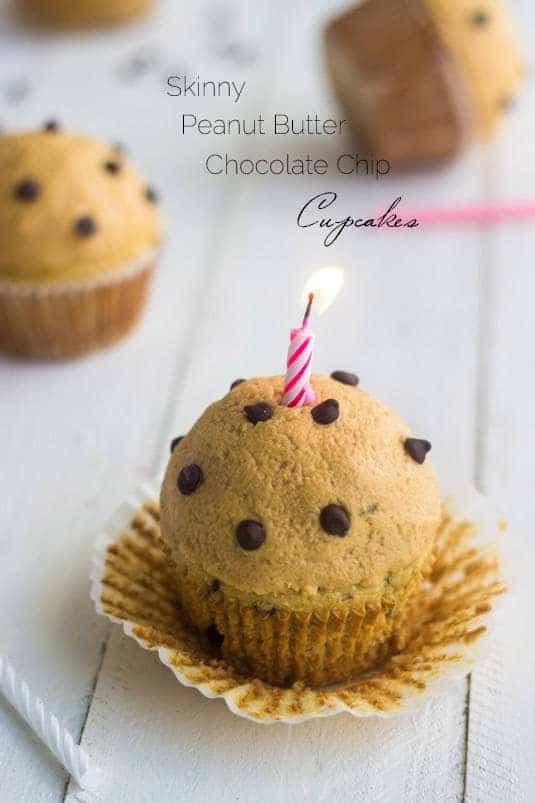 Single Serving Skinny Chocolate Peanut Butter Cupcakes - Food Faith Fitness | #glutenfree #healthy #cupcake #recipe