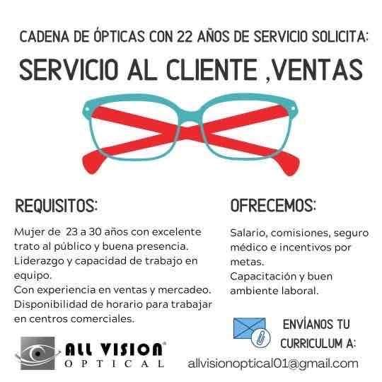 All vision optical solicita personal servicio al cliente