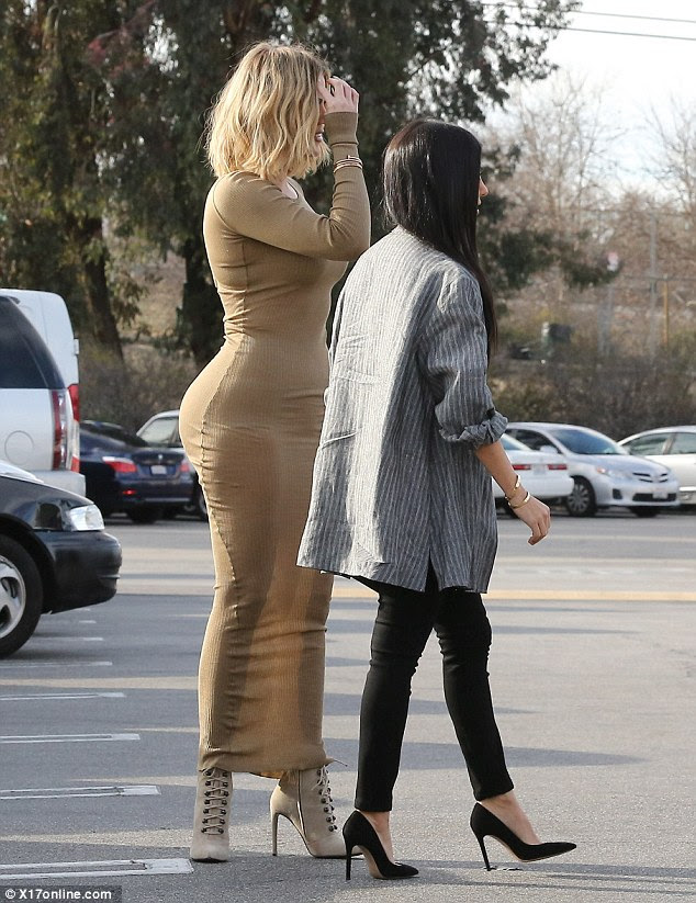 Oh dear:Khloe decided to transform a day out into a glamorous affair, but it did not go quite to plan
