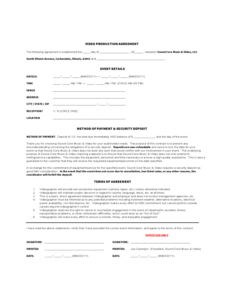 video production agreement form d1