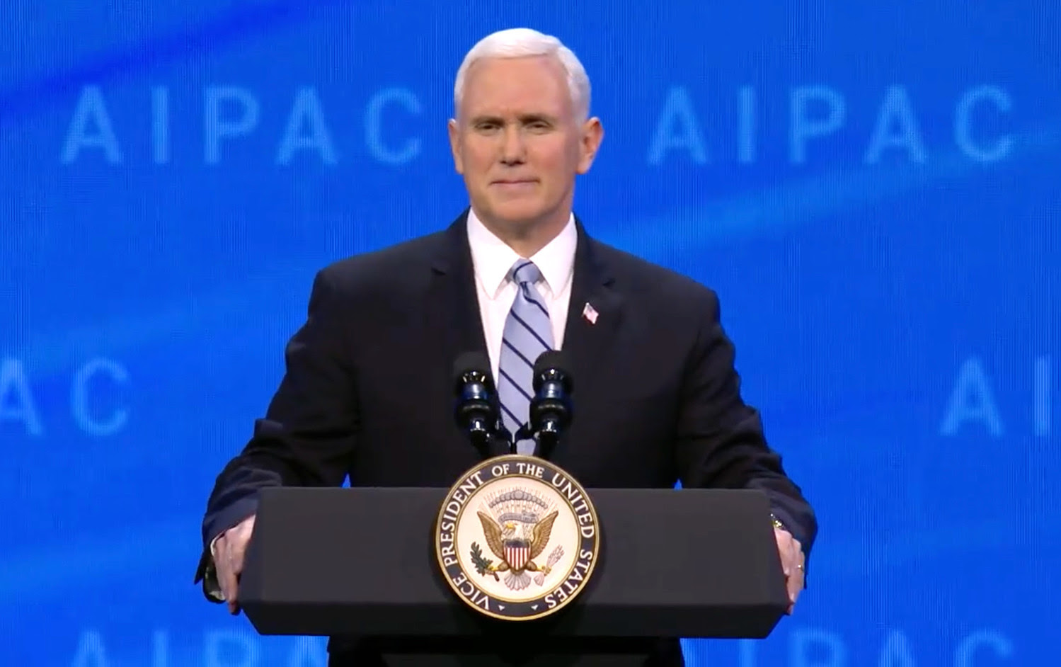 Vice President Mike Pence speaks at the AIPAC Policy Conference on March 5, 2018.