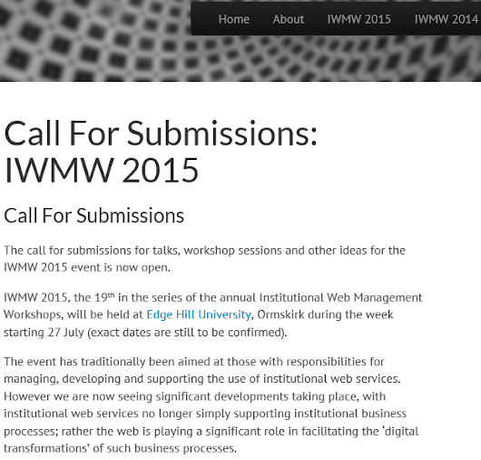 Call For Submissions for IWMW 2015