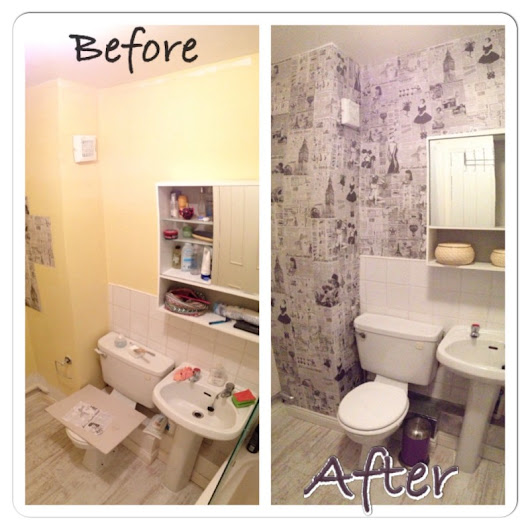 Bathroom DIY renovation - old papers wallpaper | Art Cave
