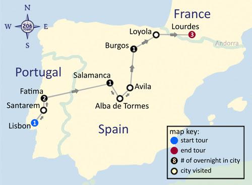Fatima, Spain & Lourdes Pilgrimage map